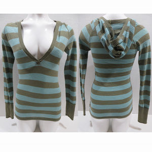 American Eagle top XS striped hooded casual